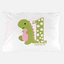 Customized First Birthday Green Dinosaur Pillow Ca