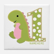 Customized First Birthday Green Dinosaur Tile Coas