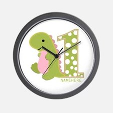 Customized First Birthday Green Dinosaur Wall Cloc