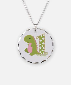 Customized First Birthday Green Dinosaur Necklace