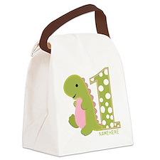Customized First Birthday Green Dinosaur Canvas Lu