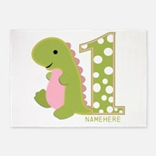 Customized First Birthday Green Dinosaur 5'x7'Area