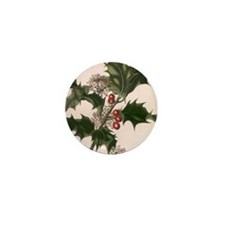 Vintage Christmas Holly Mini Button