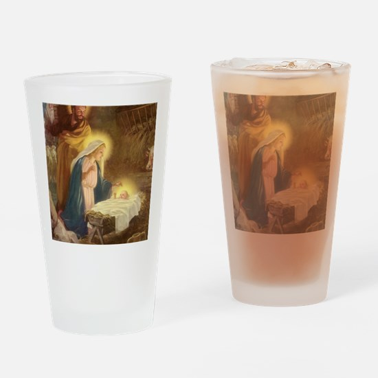 Vintage Christmas Nativity Drinking Glass