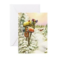 Vintage Christmas Mailboxes Greeting Card