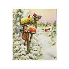 Vintage Christmas Mailboxes Throw Blanket