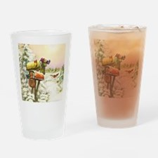 Vintage Christmas Mailboxes Drinking Glass
