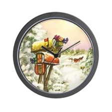Vintage Christmas Mailboxes Wall Clock
