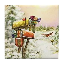 Vintage Christmas Mailboxes Tile Coaster