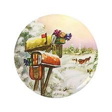 "Vintage Christmas Mailboxes 3.5"" Button"