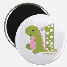 Custom First Birthday Green Dinosaur Magnet