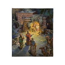 Vintage Christmas Nativity Throw Blanket