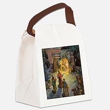 Vintage Christmas Nativity Canvas Lunch Bag