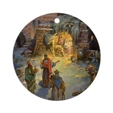 Vintage Christmas Nativity Round Ornament