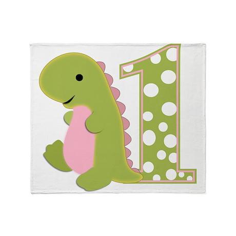 First Birthday Dino Throw Blanket
