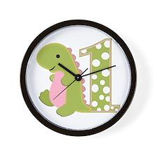 First Birthday Dino Wall Clock