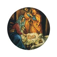 "Vintage Christmas Nativity 3.5"" Button"