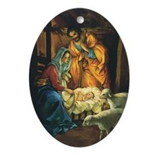 Vintage Christmas Nativity Oval Ornament