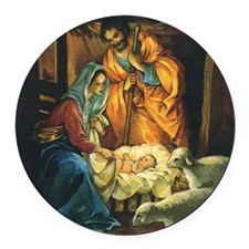 Vintage Christmas Nativity Round Car Magnet