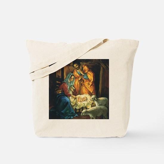 Vintage Christmas Nativity Tote Bag