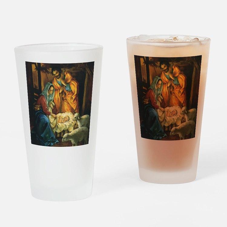 Vintage Christmas Nativity Drinking Glass