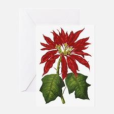 Vintage Christmas Poinsettia Greeting Card