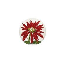 Vintage Christmas Poinsettia Mini Button