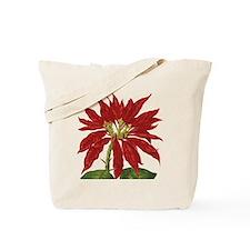 Vintage Christmas Poinsettia Tote Bag