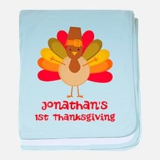 Personalized 1st Thanksgiving Turkey baby blanket