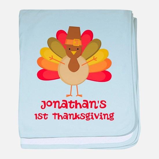 Personalized 1st Thanksgiving Turkey baby blanket