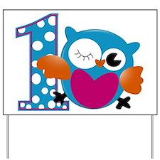 Cute Owl First Birthday Yard Sign