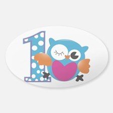 Cute Owl First Birthday Sticker (Oval)
