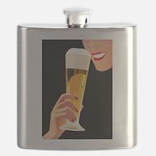 Beer, Pilsner Glass, Vintage Poster Flask