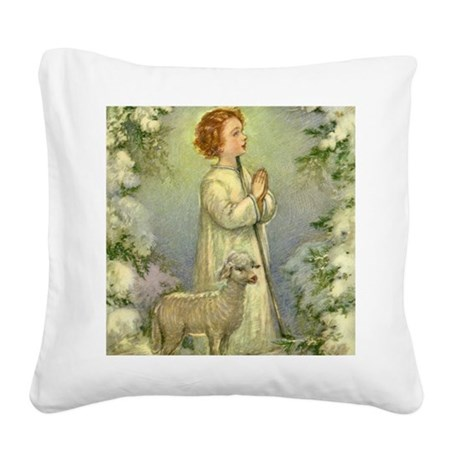 Vintage Christmas Shepherd Square Canvas Pillow