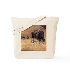 Bull Bison, Female, & Wolf Tote Bag
