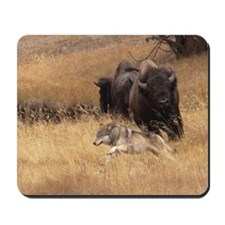 Bull Bison, Female, & Wolf Mousepad