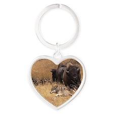 Bull Bison, Female, & Wolf Heart Keychain