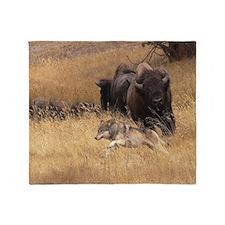 Bull Bison, Female, & Wolf Throw Blanket