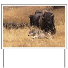 Bull Bison, Female, & Wolf Yard Sign