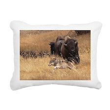 Bull Bison, Female, & Wo Rectangular Canvas Pillow