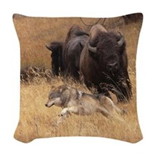 Bull Bison, Female, & Wolf Woven Throw Pillow