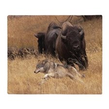 Bull Bison, Female, & Wolf Throw Blanket
