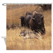 Bull Bison, Female, & Wolf Shower Curtain