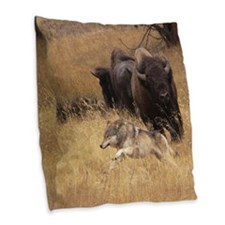 Bull Bison, Female, & Wolf Burlap Throw Pillow