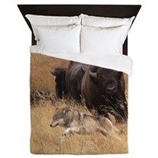Bull Bison, Female, & Wolf Queen Duvet