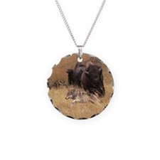 Bull Bison, Female, & Wolf Necklace Circle Charm