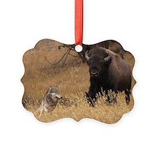 Bull Bison & Wolf Ornament