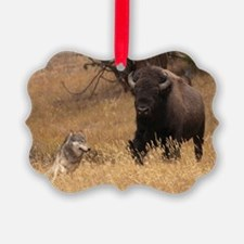 Bull Bison & Wolf Ornament