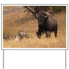 Bull Bison & Wolf Yard Sign