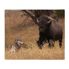 Bull Bison & Wolf Throw Blanket